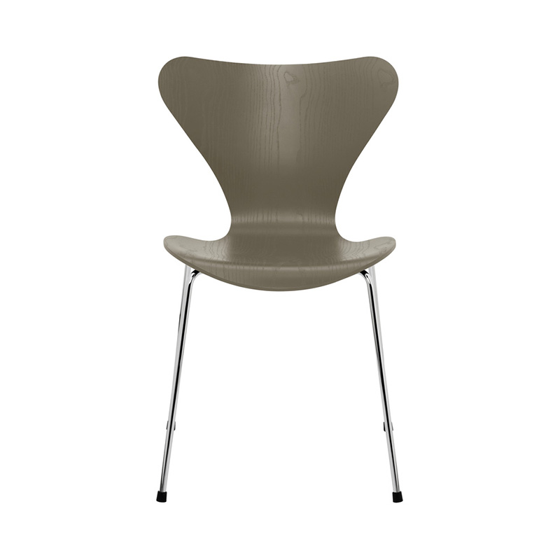 7 CHAIR COLOURED ASH OLIVE GREEN CHROME LEG