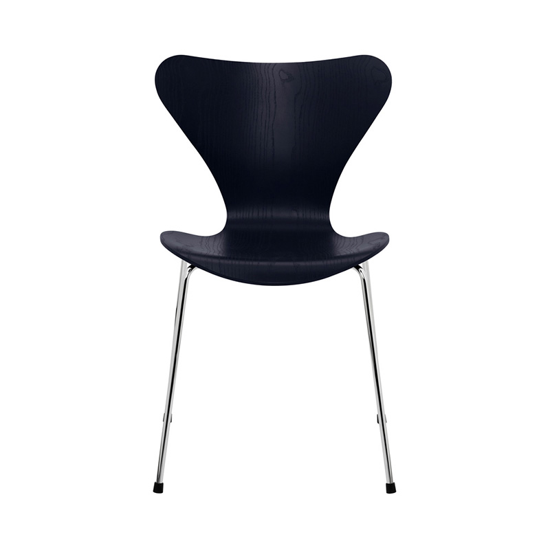 7 CHAIR COLOURED ASH MID-NIGHT BLUE CHROME LEG