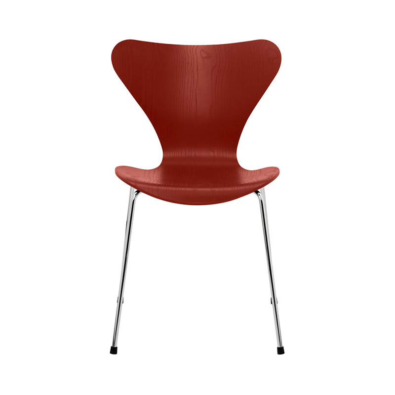 7 CHAIR COLOURED ASH VENETIAN RED CHROME LEG