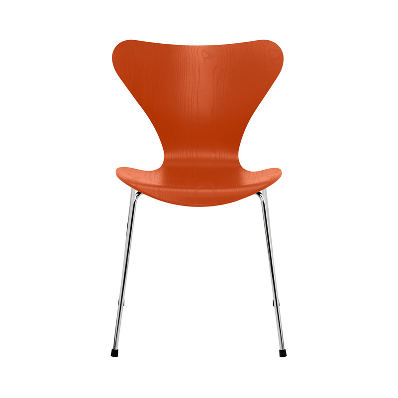 7 CHAIR COLOURED ASH PARADISE ORANGE CHROME LEG