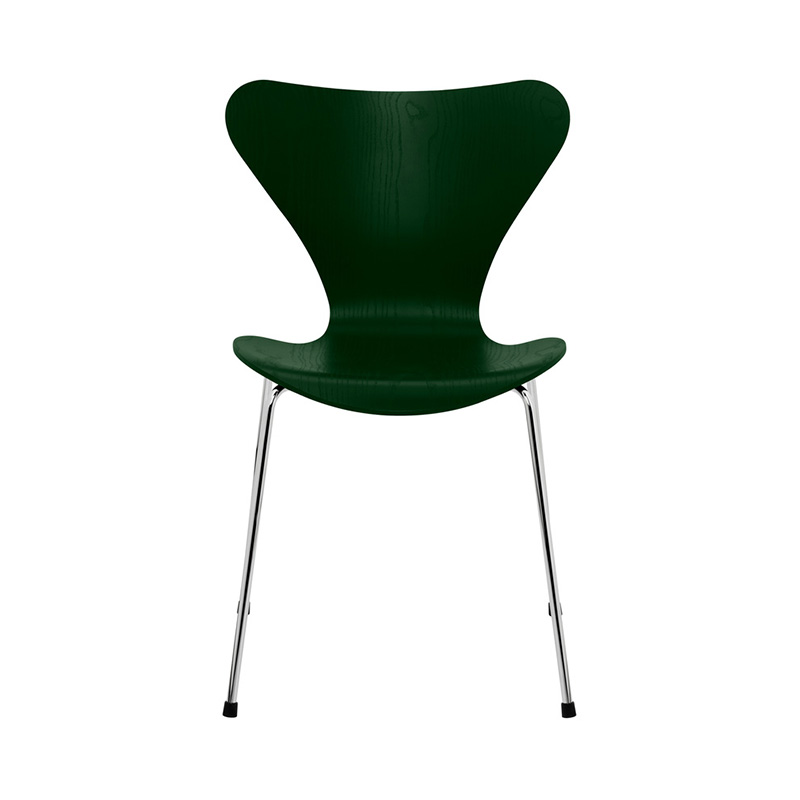 7 CHAIR COLOURED ASH EVERGREEN CHROME LEG
