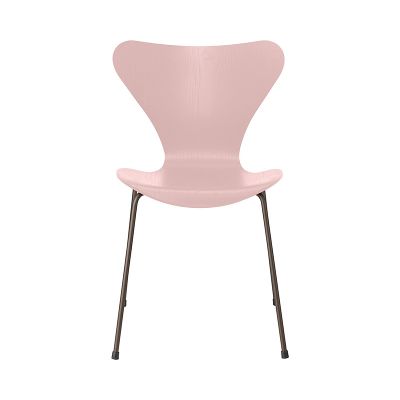 7 CHAIR COLOURED ASH PALE ROSE BROWN BRONZE LEG