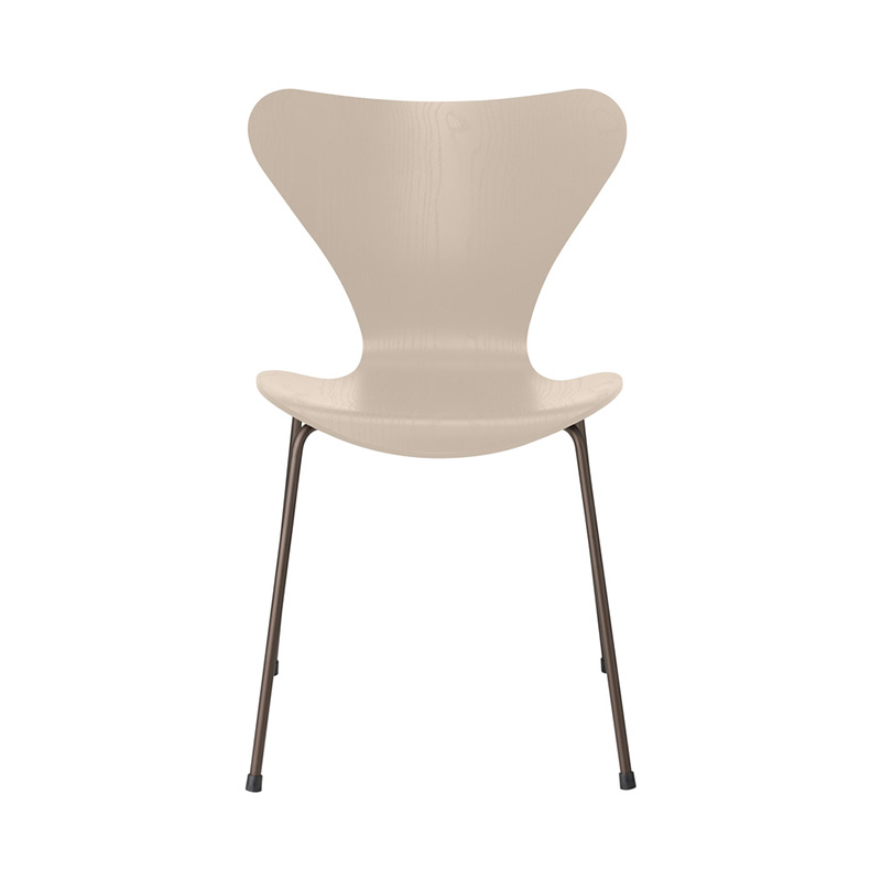 7 CHAIR COLOURED ASH LIGHT BEIGE BROWN BRONZE LEG