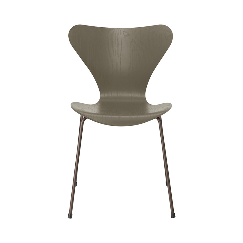 7 CHAIR COLOURED ASH OLIVE GREEN BROWN BRONZE LEG