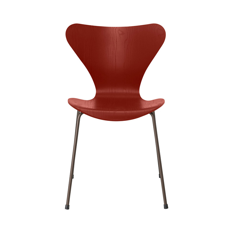 7 CHAIR COLOURED ASH VENETIAN RED BROWN BRONZE LEG