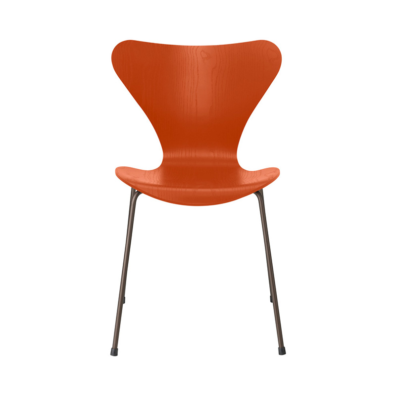 7 CHAIR COLOURED ASH PARADISE ORANGE BROWN BRONZE LEG