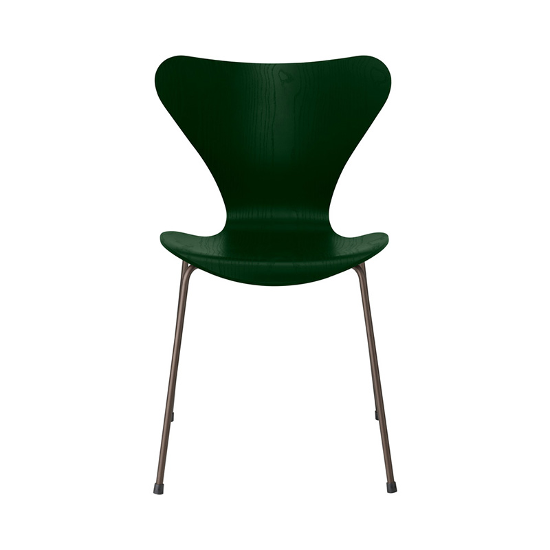 7 CHAIR COLOURED ASH EVERGREEN BROWN BRONZE LEG