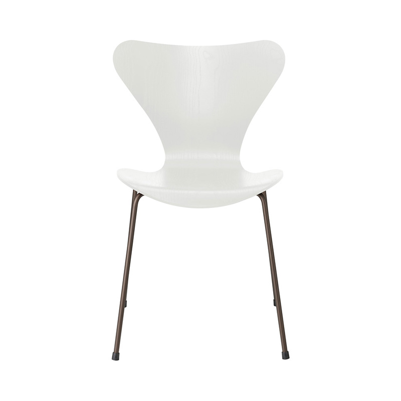 7 CHAIR COLOURED ASH WHITE BROWN BRONZE LEG