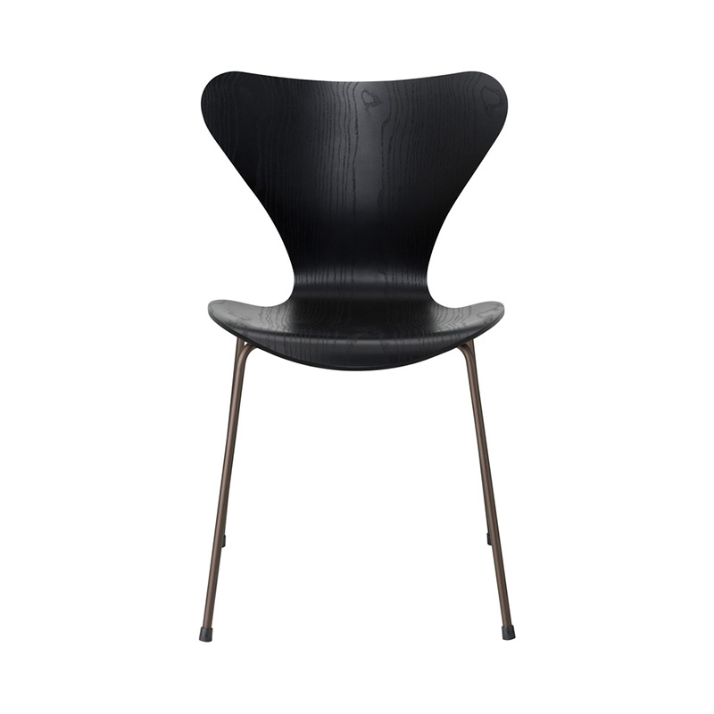7 CHAIR COLOURED ASH BLACK BROWN BRONZE LEG