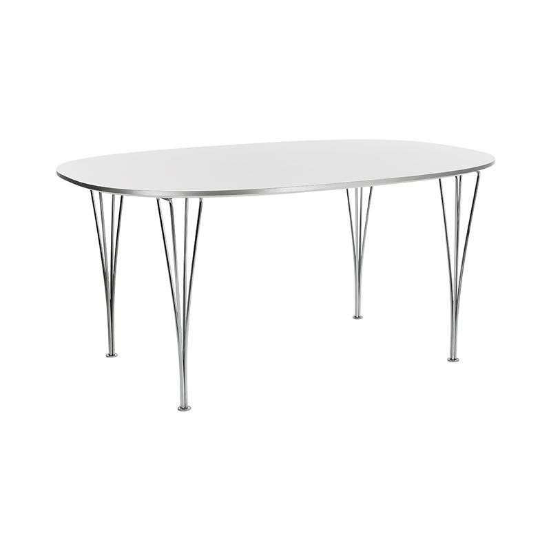 B616 TABLE WHITE WHITE LAMINATE CHROME LEG 170X100X72