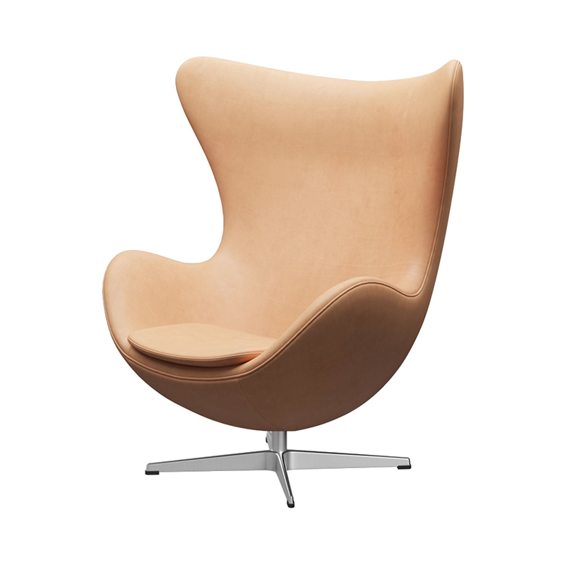 3316 EGG CHAIR NATURAL LEATHER /SATIN LEG WITH FOOTSTOOL