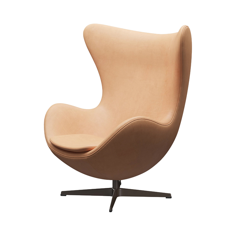 3316 EGG CHAIR NATURAL LEATHER /BROWN BRONZE LEG WITH FOOTSTOOL
