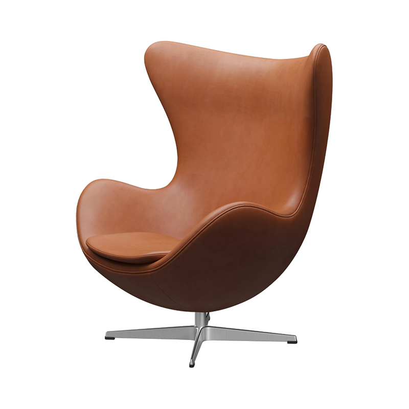 3316 EGG CHAIR GRACE LEATHER WALNUT /SATIN LEG WITH FOOTSTOOL