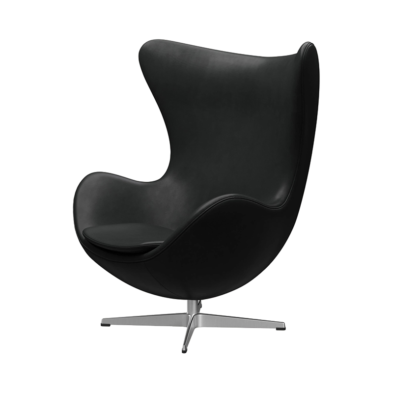 3316 EGG CHAIR GRACE LEATHER BLACK /SATIN LEG WITH FOOTSTOOL