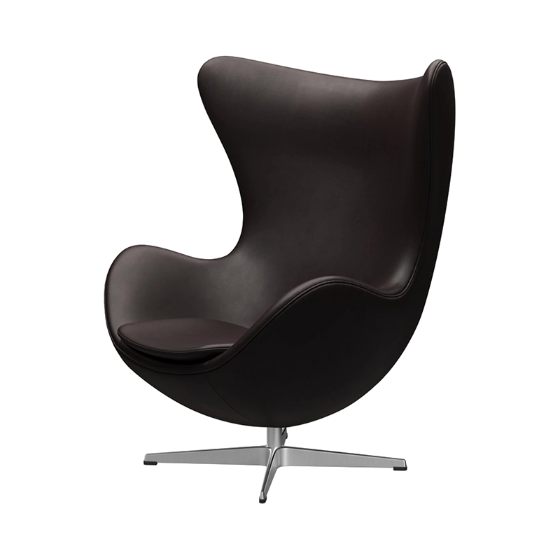 3316 EGG CHAIR GRACE LEATHER DARK BROWN /SATIN LEG WITH FOOTSTOOL