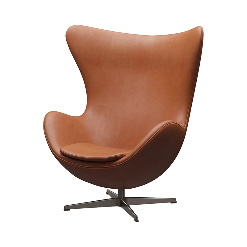 3316 EGG CHAIR GRACE LEATHER WALNUT /BROWN BRONZE LEG WITH FOOTSTOOL