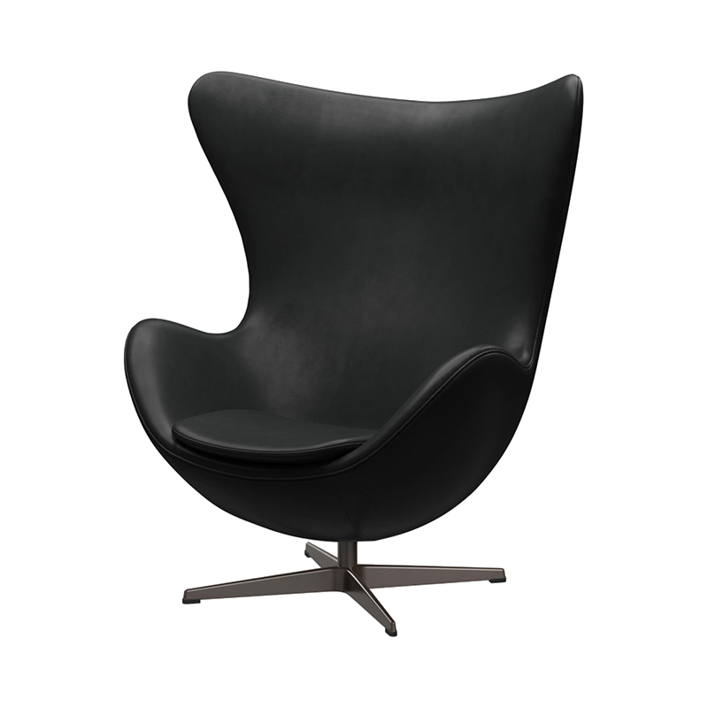 3316 EGG CHAIR GRACE LEATHER BLACK /BROWN BRONZE LEG WITH FOOTSTOOL