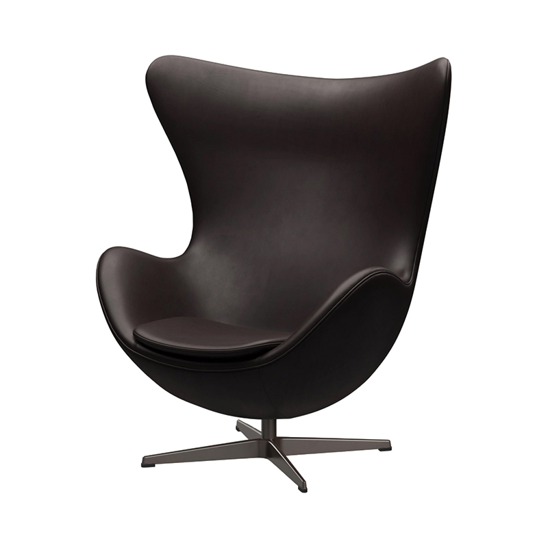 3316 EGG CHAIR GRACE LEATHER DARK BROWN /BROWN BRONZE LEG WITH FOOTSTOOL