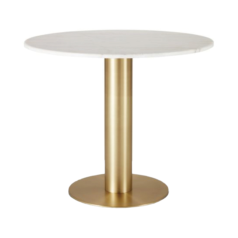 TUBE TABLE BRASS WHITE MARBLE TOP 900mm