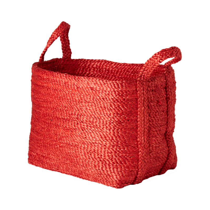 SMALL SQUARE JUTE BASKET RED