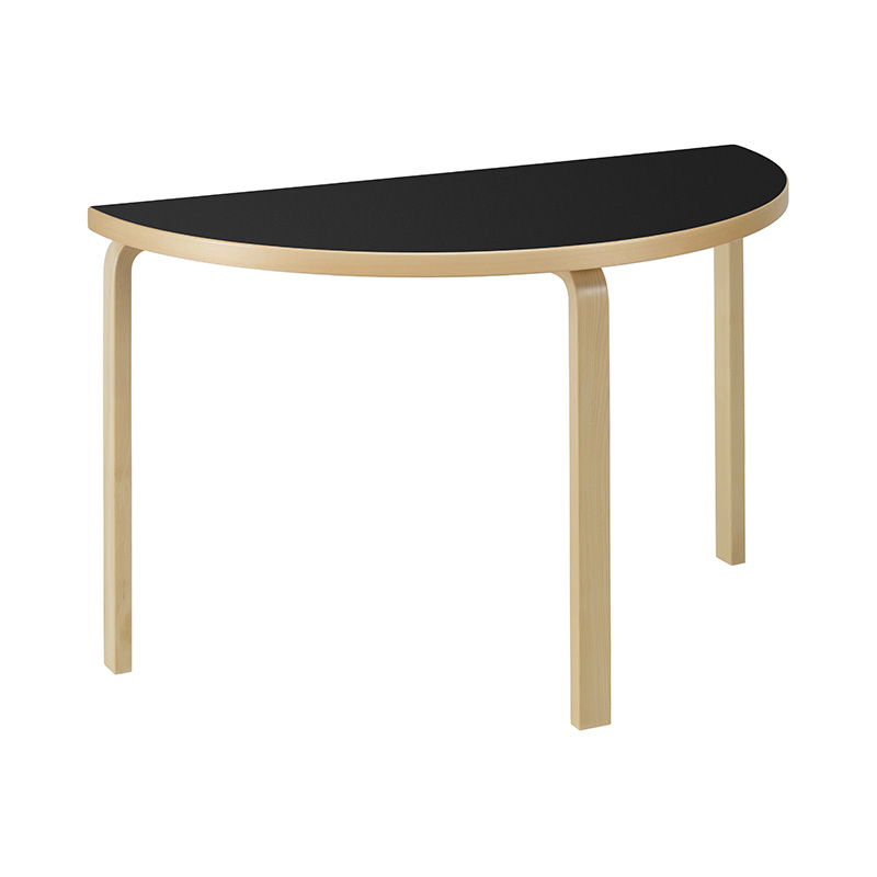 95 TABLE BLACK LINOLEUM /NATURAL LEG