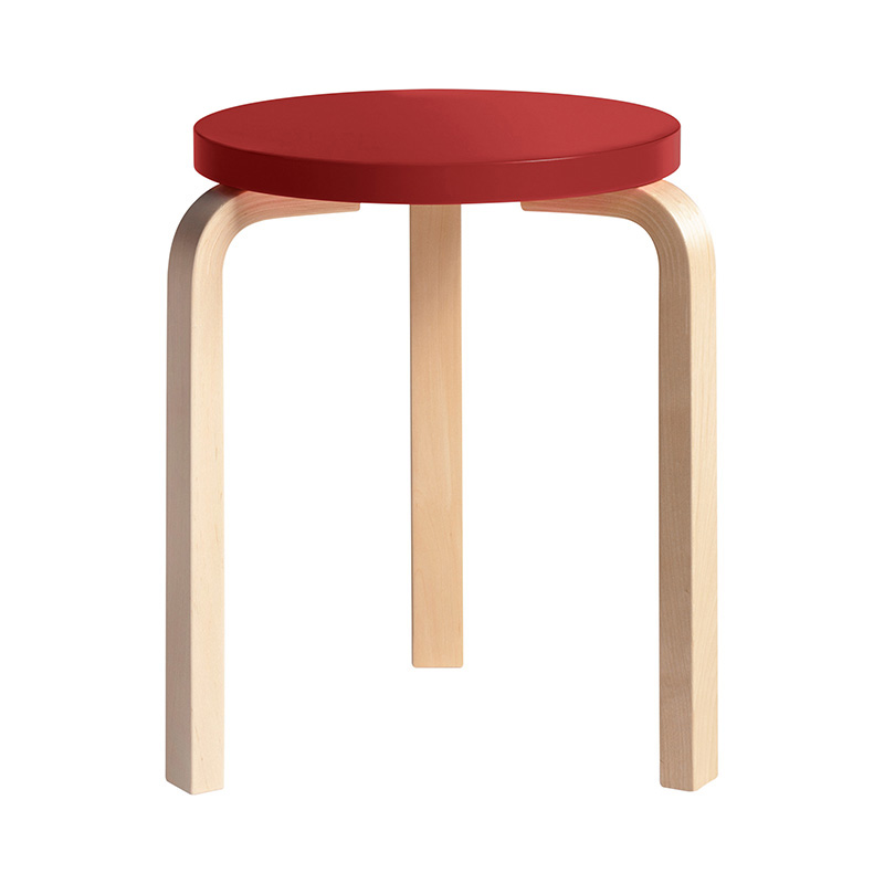 STOOL 60 RED LACQUER /NATURAL LEG