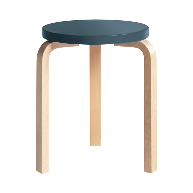 STOOL 60 BLUE LACQUER /NATURAL LEG