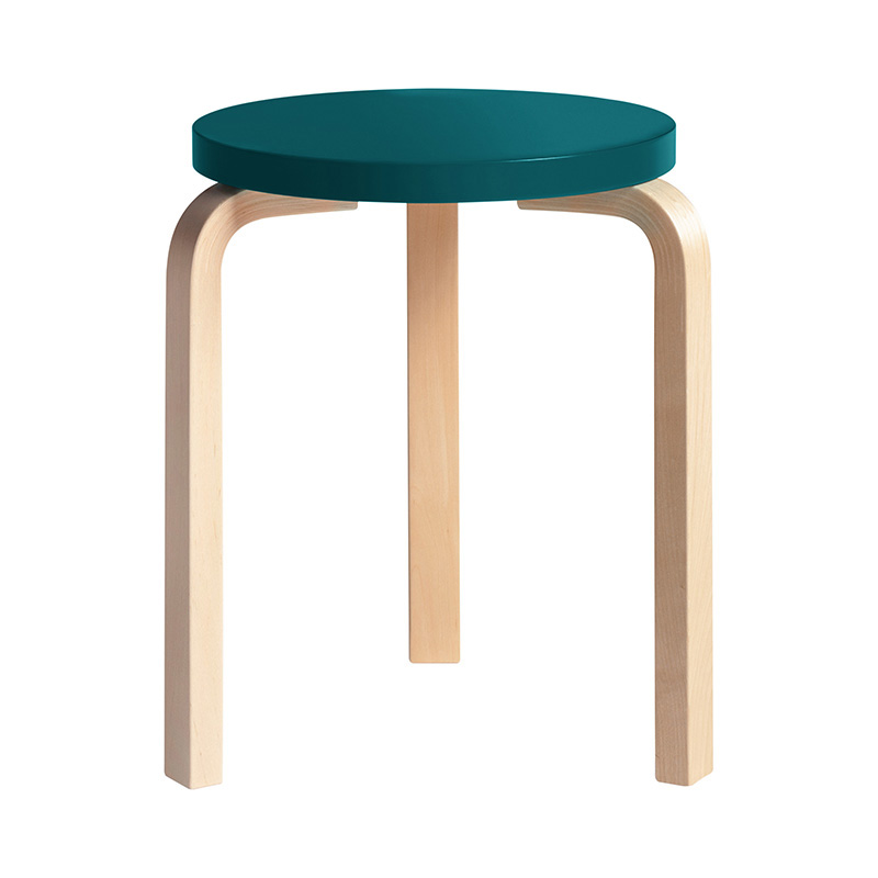 STOOL 60 PETROL LACQUER /NATURAL LEG