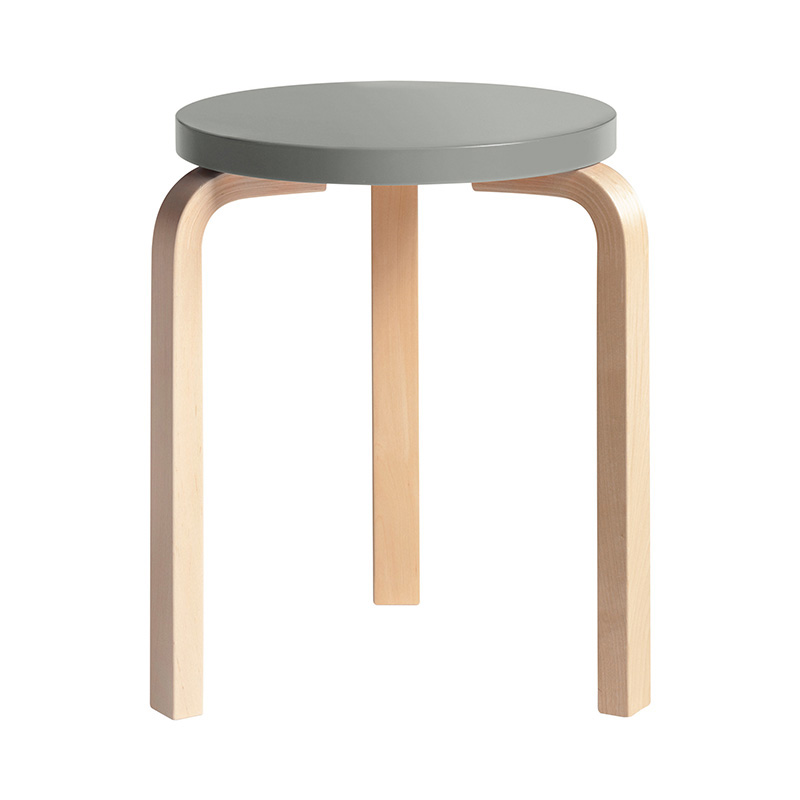 STOOL 60 GREY LACQUER /NATURAL LEG