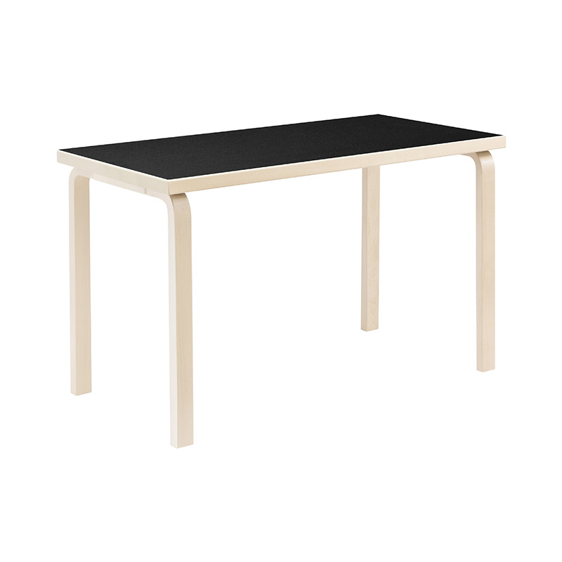 80A TABLE BLACK LINOLEUM /NATURAL LEG