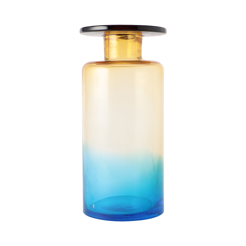 VASE BLUE AMBER WIND&FIRE TALL