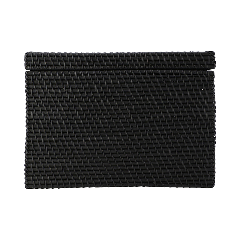 RECTANGLE BOX WITH COVER BLACK L